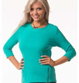 Bleu Bayou 3/4 Sleeve Angled Zipper Cotton Top Sea Green