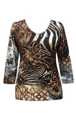 Valentina Signa 3/4 Sleeve Lycra Top Animal