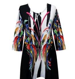 Valentina Signa 3/4 Sleeve Lycra Tunic B/W Brushstroke Butterfly Plus