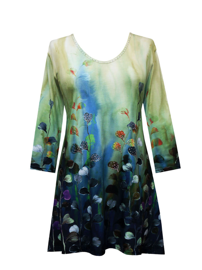 Valentina Signa 3/4 Sleeve Lycra Tunic Watercolor Leaves Plus