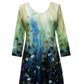 Valentina Signa 3/4 Sleeve Lycra Tunic Watercolor Leaves