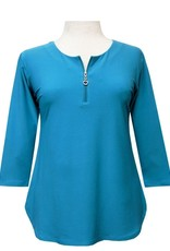 Valentina Signa 3/4 Sleeve Solid Lycra Top with Zipper Turquoise