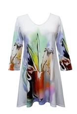 Valentina Signa 3/4 Sleeve Lycra Tunic Abstract Vase