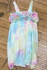 Rainbow Tye Dye Dress with Flower Chest