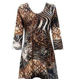 Valentina Signa 3/4 Sleeve Lycra Tunic Animal