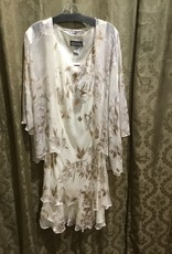 Simply Silk Silk Tea Length Dress 3/4 Sleeve Jacket Pearl Large