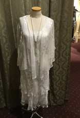 Simply Silk Silk Tea Length Dress 3/4 Flutter Sleeve Jacket White Medium