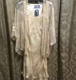 Simply Silk Silk Tea Length Dress 3/4 Sleeve Jacket Champagne Small