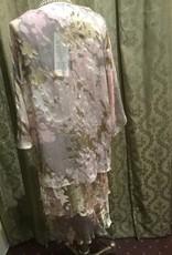 Simply Silk Silk Tea Length Dress 3/4 Sleeve Jacket Blush Burnout Small
