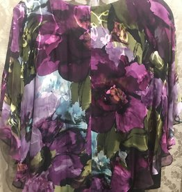 Simply Silk Silky Flowy Top with Built-in Shell Plum Lime Floral
