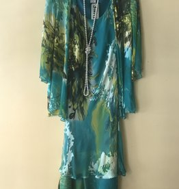 Silk Tea Length Dress 3/4 Sleeve Jacket Chartrese/Teal Small