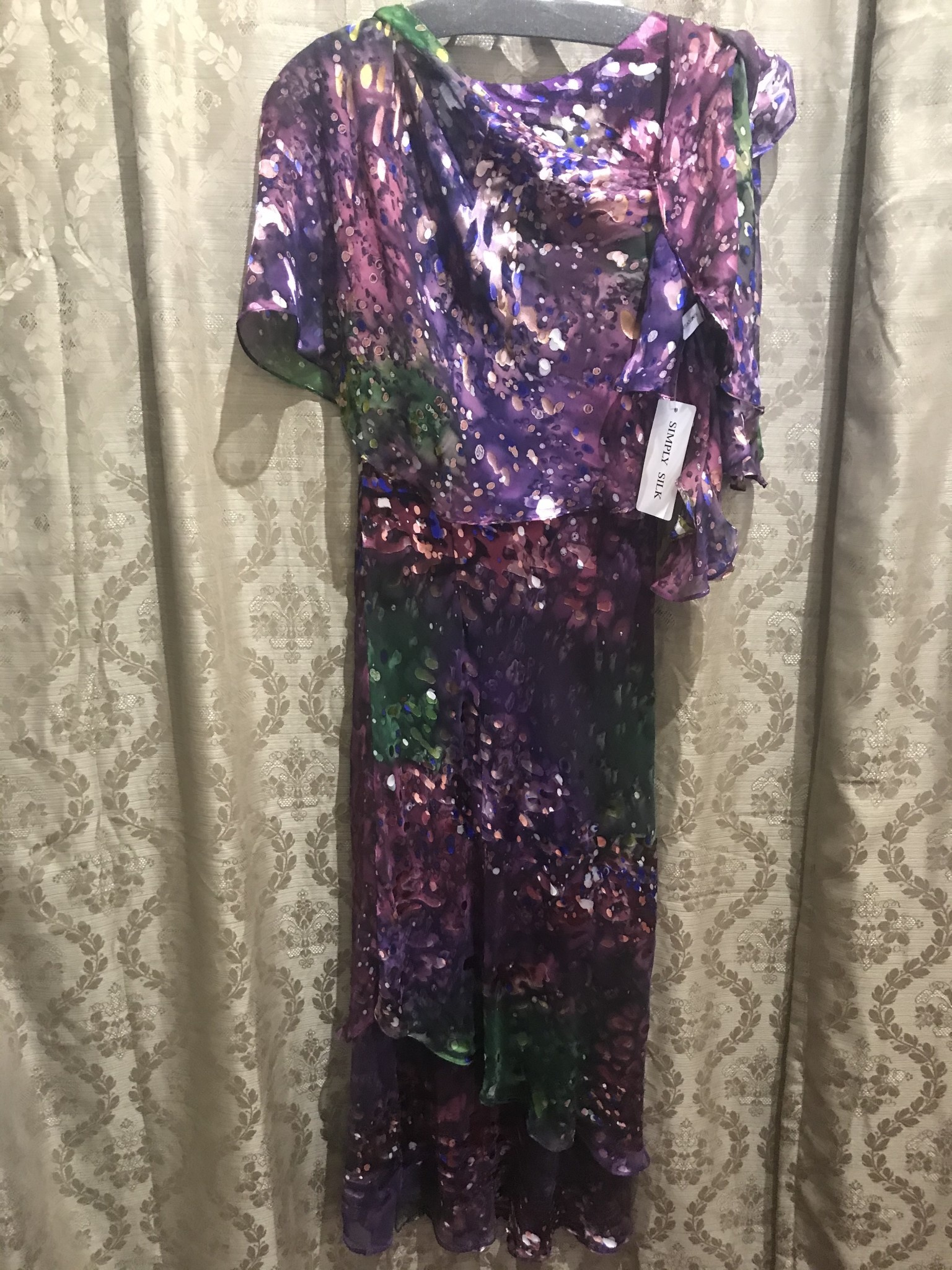 Simply Silk Long Silky Dress with Scarf - 2 Pc Set Purple Olive Small