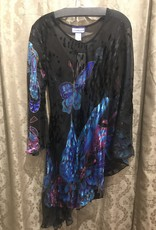 Simply Silk One Sleeve Silky Poncho Tunic Butterfly