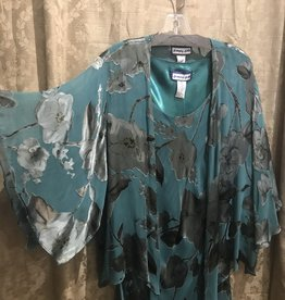 Silk Tea Length Dress 3/4 Flutter Sleeve Jacket Dark Jade XL