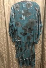 Simply Silk Silk Tea Length Dress 3/4 Flutter Sleeve Jacket Dark Jade XL