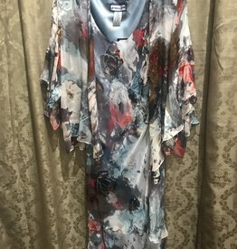 Simply Silk Silk Tea Length Dress 3/4 Flutter Sleeve Jacket Floral