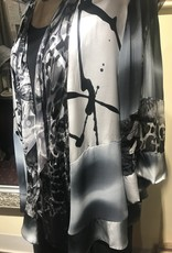 Simply Silk Hand Painted Silk Jacket Black White Smoke