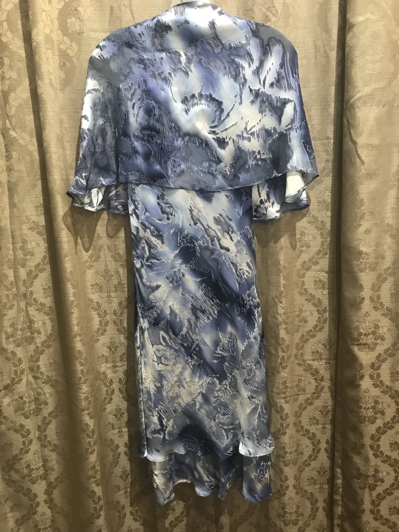 Simply Silk Silk Tea Length Dress with Scarf Blue Smoke Small