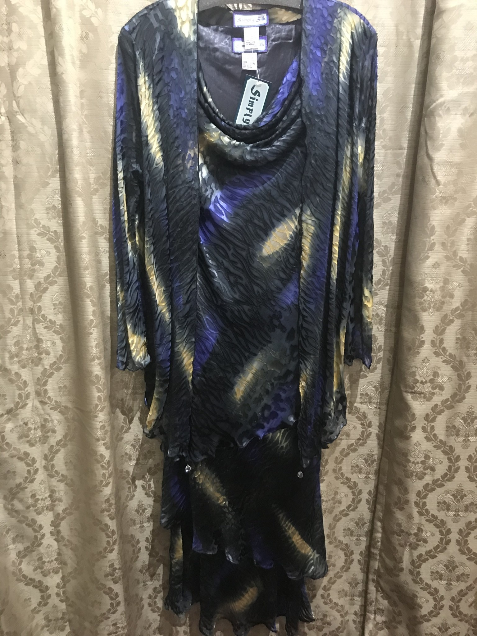 Simply Silk Long Silky Dress with Cowl Neckline and Jacket Purple Gold Medium