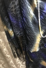 Simply Silk Long Silky Dress with Cowl Neckline and Fringe Scarf Black Purple Gold