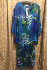 Simply Silk Long Silk Dress with 3/4 Sleeve Jacket Caribbean Medium