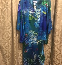 Simply Silk Long Silk Dress with 3/4 Sleeve Jacket Caribbean Medium
