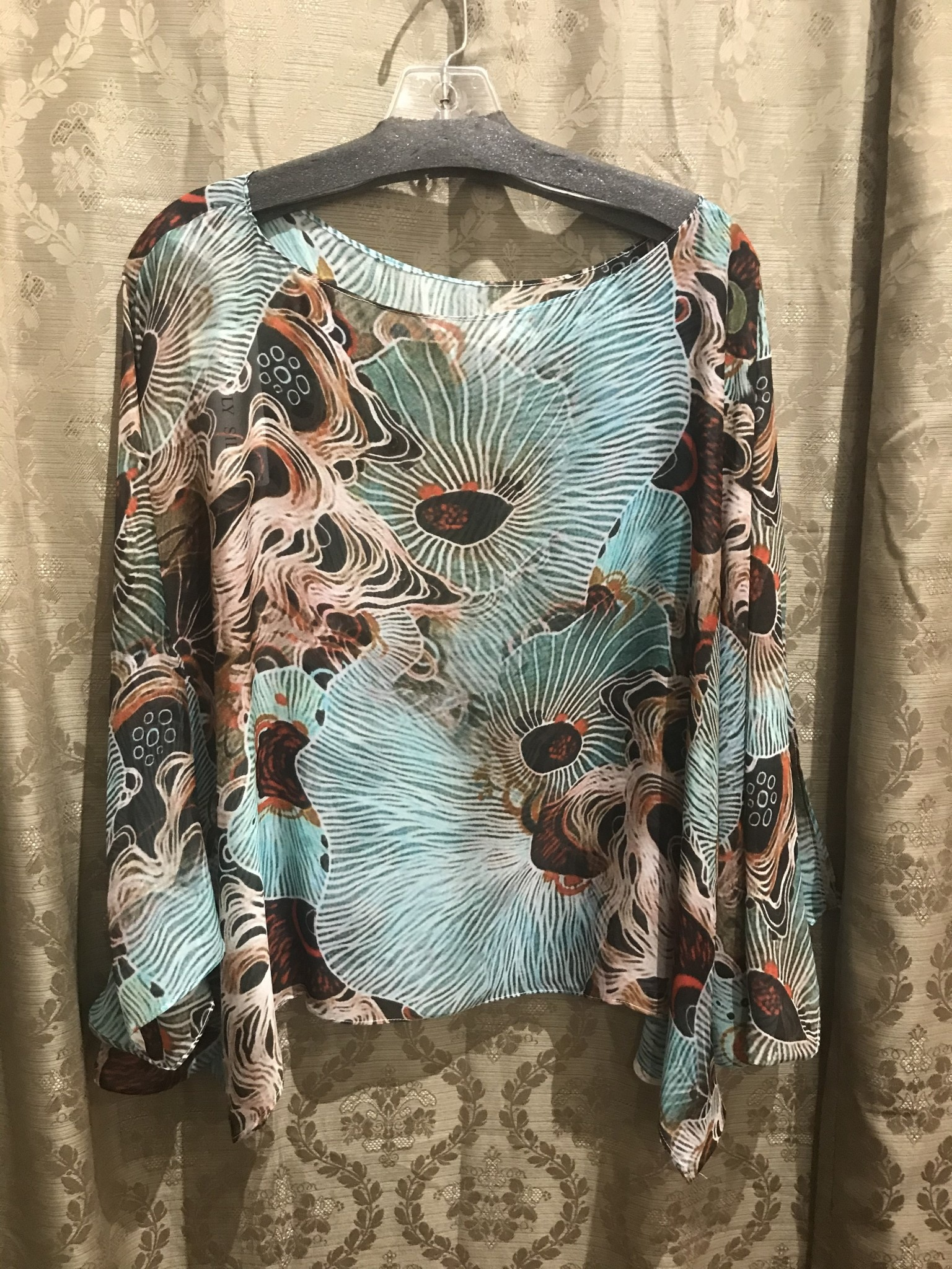 Simply Silk Silk Poncho Mint Coral One-Size