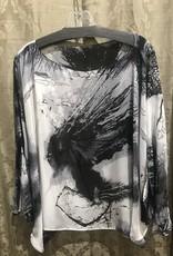 Simply Silk Silk Poncho Black/White One-Size