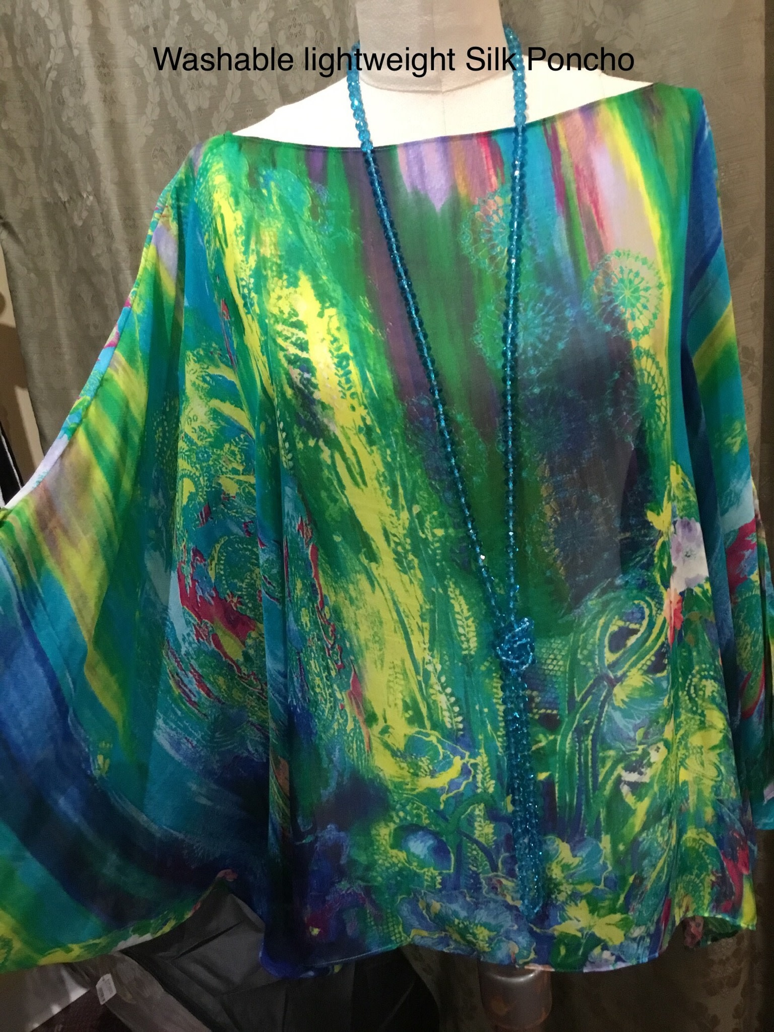 Simply Silk Silk Poncho Multi 153 One Size