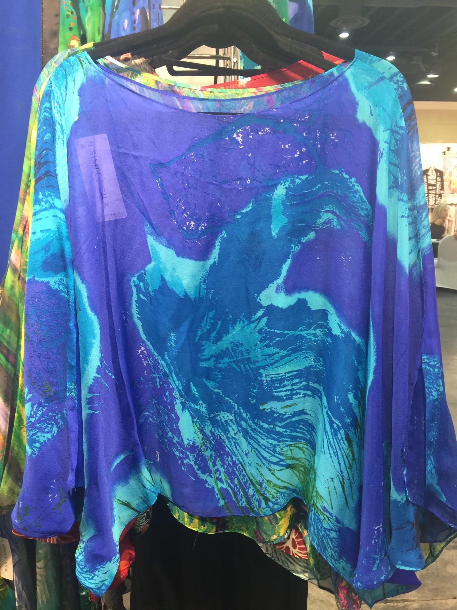 Simply Silk Silk Poncho Ocean One Size