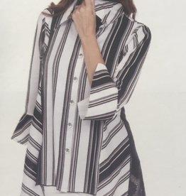 Lindi Black/White Stripped Lace Back Tunic