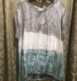 Adore Shimmery Cap Sleeve Lined Ombre Tunic Gray Green