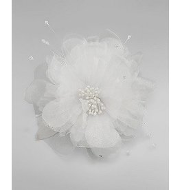 Golden Stella Tulle Flower Hair Clip / Pin White