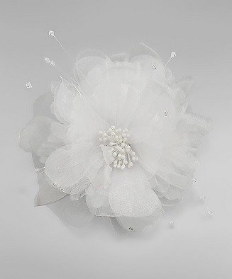 Golden Stella Tulle Flower Hair Clip / Pin White