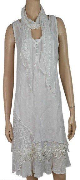 Pretty Angel 3 Pc Sleeveless Ruffle Bottom Dress with Scarf White