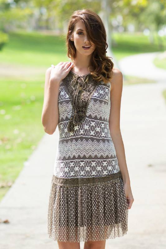 A'reve Sleeveless Crochet Knitted Top Lace Bottom Cream/Br