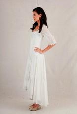 Nataya Embroidered Hi-Lo Long Half Sleeve Dress Ivory