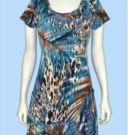 Pretty Woman Short Sleeve Dress with Pockets Blue Cheetah