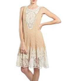 RYU Lace & Beaded Front Dress
