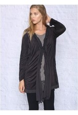 Monoreno Suede-like Cardigan Lined with Chiffon Black