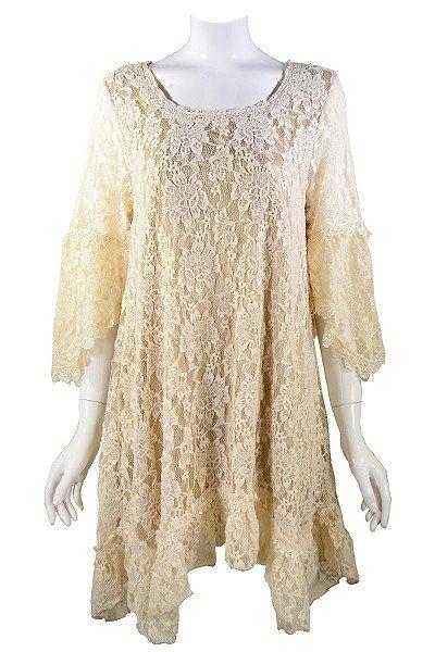 Lady Noiz Rose Floral Lace Tunic Beige/Mocha Plus