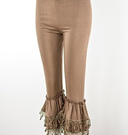 Lady Noiz Ruffled Bottom Leggings Lace Trim Mocha Plus