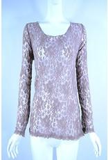 Lady Noiz Long Sleeve Lace Top Mocha Plus