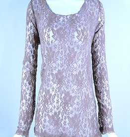 Lady Noiz Long Sleeve Lace Top Mocha Plus