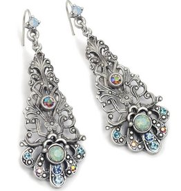 Sweet Romance Filigree Long Dangle with Stones Earrings
