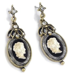 Sweet Romance Vintage Style Cameo Earrings - Jet