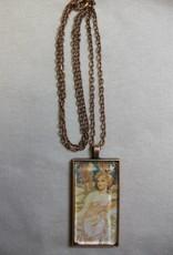 Sharon B's Originals Mucha Ant Copper Clond Hair Lady Pendant