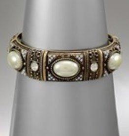 Golden Stella Cream Pearl & Russian Gold Stretch Bracelet