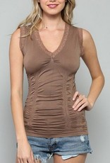 By Together Seamless Lace Rim Tank w/ Synches Mocha