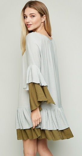 Hayden Los Angeles Ruffled Two-toned Tiered Dress Sage